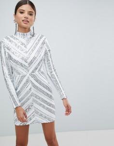 Платье мини с пайетками и длинными рукавами Girl In Mind - Серебряный