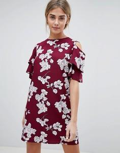 Платье А-силуэта с цветочным принтом и вырезом на плече Daisy Street - Красный