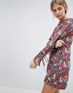 Платье А-силуэта с завязками на рукавах и цветочным принтом Daisy Street - Мульти