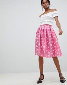 Плиссированная юбка для выпускного в горошек Liquorish - Розовый