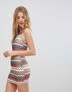 Вязаное платье в полоску Glamorous - Бежевый