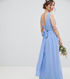 Платье макси с запахом и завязкой на спине TFNC Petite - Синий