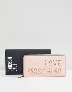 Кошелек на молнии с логотипом и заклепками Love Moschino - Розовый