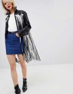 Куртка из полиуретана с бахромой ASOS DESIGN - Черный
