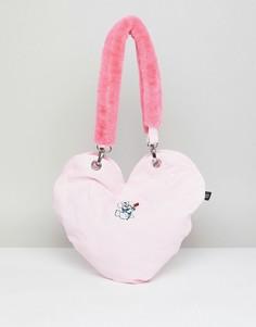 Сумка-тоут в форме сердца с ручкой из искусственного меха Lazy Oaf - Розовый