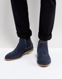 Темно-синие замшевые ботинки челси Dune - Синий