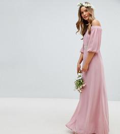 Декорированное платье макси с открытыми плечами и эффектными рукавами TFNC - Розовый