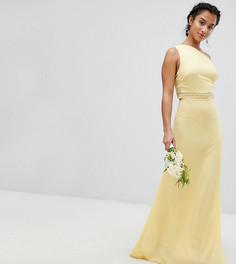 Платье макси с отделкой TFNC Petite Bridesmaid - Желтый