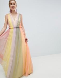 Платье макси из тюля в стиле колор блок пастельных оттенков ASOS DESIGN - Мульти