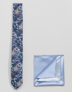 Галстук с принтом тигров и однотонный платок для нагрудного кармана Gianni Feraud Libery - Темно-синий