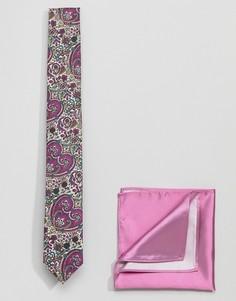 Галстук с принтом и однотонный платок для пиджака Gianni Feraud - Розовый