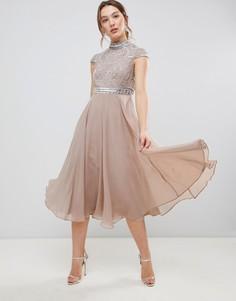 Платье миди с короткими рукавами и декорированным лифом ASOS DESIGN Premium - Розовый