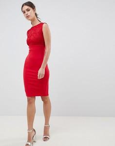 Кружевное платье миди без рукавов City Goddess - Красный