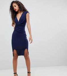 Облегающее платье миди с двумя разрезами и запахом Flounce London Tall - Темно-синий