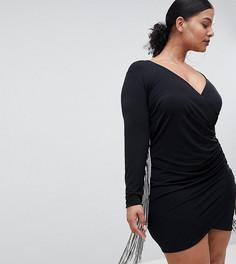 Платье мини с глубоким вырезом и кисточками Flounce London Plus - Черный