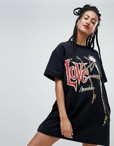 Трикотажное платье с принтом Love Moschino - Черный