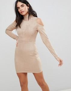 Облегающее платье с открытыми плечами AX Paris - Розовый