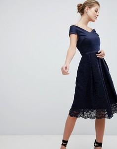 Кружевное короткое приталенное платье с открытыми плечами Vesper - Темно-синий