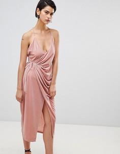 Бархатное платье с запахом Forever Unique - Розовый