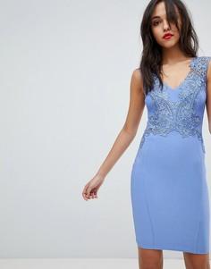 Облегающее платье с V-образным вырезом и цветочной аппликацией Lipsy - Синий