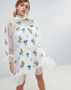 Платье из органзы с цветочной вышивкой Sister Jane - Белый