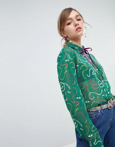Блузка с завязкой на воротнике и змеиным принтом Sister Jane - Зеленый