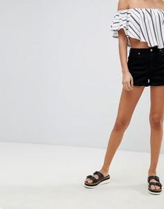 Джинсовые шорты с завышенной талией Missguided Riot - Черный