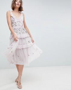 Многослойное платье миди с декоративной отделкой Needle & Thread - Фиолетовый