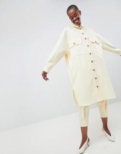 Саржевая оversize-рубашка ASOS WHITE - Желтый