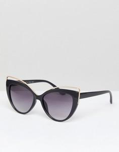 Солнцезащитные очки кошачий глаз с металлической отделкой AJ Morgan - Черный