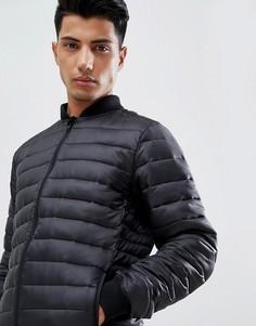 Стеганая куртка с вязаным воротником Threadbare - Черный