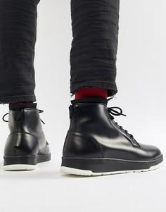 Черные кожаные ботинки со шнуровкой ASOS DESIGN - Черный