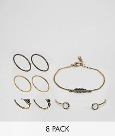 Набор колец и браслетов с камнями и перьями (8 шт.) ASOS DESIGN - Золотой
