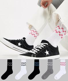 5 пар спортивных носков с шахматным принтом ASOS DESIGN - Белый