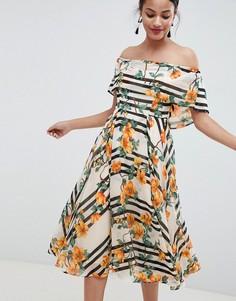 Платье миди в полоску с цветочным принтом ASOS DESIGN - Мульти