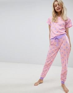 Пижамный комплект с принтом сердца Loungeable - Желтый