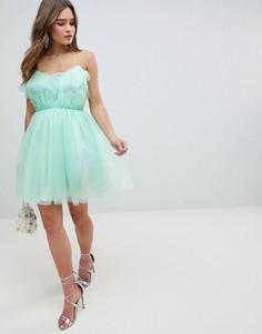 Платье мини для выпускного из тюля с оборками на лифе ASOS DESIGN - Зеленый