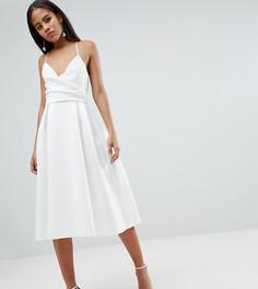 Платье миди для выпускного на бретельках ASOS DESIGN Tall - Белый