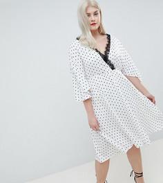 Эксклюзивное платье миди с широкими рукавами ASOS DESIGN Curve - Белый
