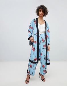 Брюки от комплекта с широкими штанинами и цветочным принтом Neon Rose - Синий