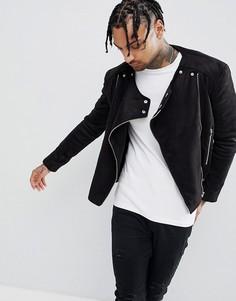 Байкерская куртка из искусственной замши Sixth June - Черный