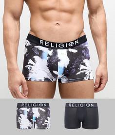 Набор из 2 боксеров-брифов с пальмовым принтом Religion - Черный