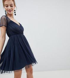 Платье мини из тюля с полупрозрачными рукавами ASOS Petite - Темно-синий