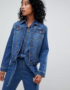Спортивная джинсовая куртка с заклепками Liquor N Poker - Синий