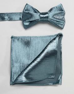 Зеленый атласный галстук-бабочка и платок для пиджака ASOS DESIGN - Зеленый