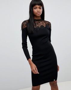 Трикотажное платье миди с длинными рукавами и кружевом Lipsy - Черный