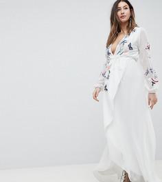 Платье макси с запахом и цветочной вышивкой Hope & Ivy Maternity - Белый
