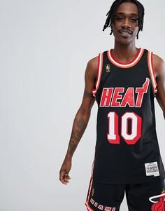Черная майка с логотипом Miami Heat Mitchell & Ness NBA Swingman - Синий