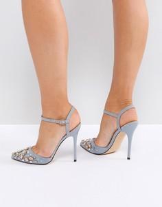 Серые туфли на каблуке с отделкой Office - Серый