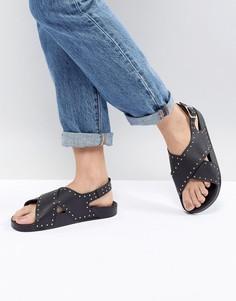 Черные сандалии с перекрестными ремешками и заклепками Office Supernova - Черный